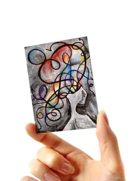 Fibromyalgia Print, Surreal Art, ACEO Art Card, Mental Health, Rainbow Artwork, Depression, Anxiety Art, Fibro Awareness