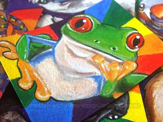 Tree Frog Original ACEO Art Card, Cute Animal, Acrylic Painting, Hand Painted, Wildlife Decor, Rainbow Gift, Red Eyes, Colorful Artwork