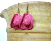 Cowgirl Hat Earrings - Hot Pink Glittered Leather