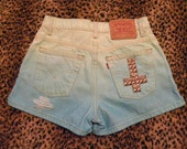 Vintage hand studded and hand dyed denim shorts size 5 seafoam / mint green and aqua blue ombre