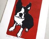 Hand print original work   Boston bull terrier N0.4