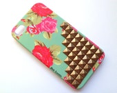 FREE Shipping US Pretty Flower Teal Bronze Studded Iphone 4 4S Matte Hard Case with Front Lip Cover AT&T Verizon Sprint