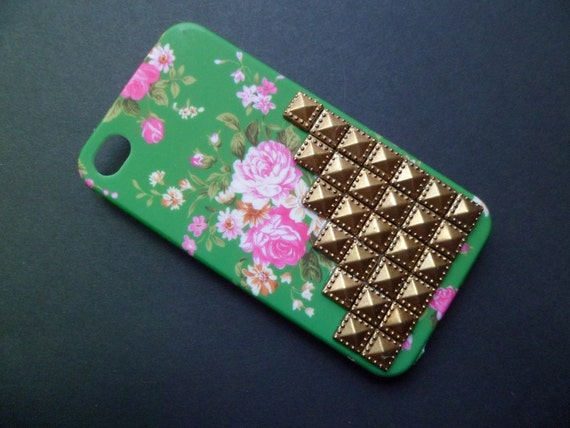 Pretty Green Floral Antique Bronze Studded Iphone 4 4S Rubberized Hard Case AT&T Verizon Sprint