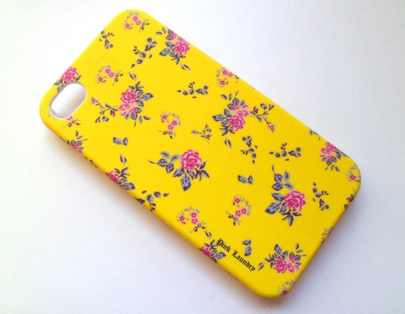 SALE Free Shipping US Yellow Vintage Flower Iphone 4 4S Rubberized Hard Case with Front Lip Cover AT&T Verizon Sprint