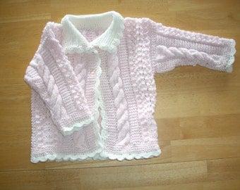 Pretty in Pink Handknit Baby Sweater - 6 - 12 months