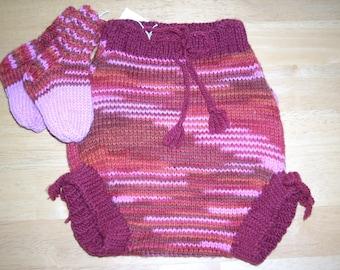 Handknitted Wool Diaper Cover/Soaker w/Socks - Size M