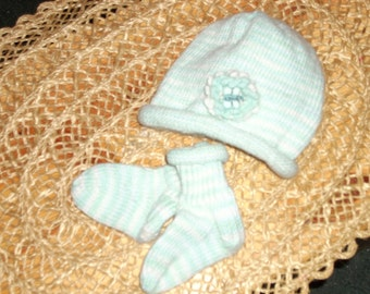 Handknit Baby Hat & Matching Socks - Mint green, soft blue and white