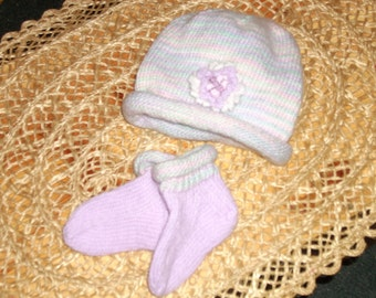 Handknit Baby Hat & Matching Socks - Lavender, mint green, pink, white