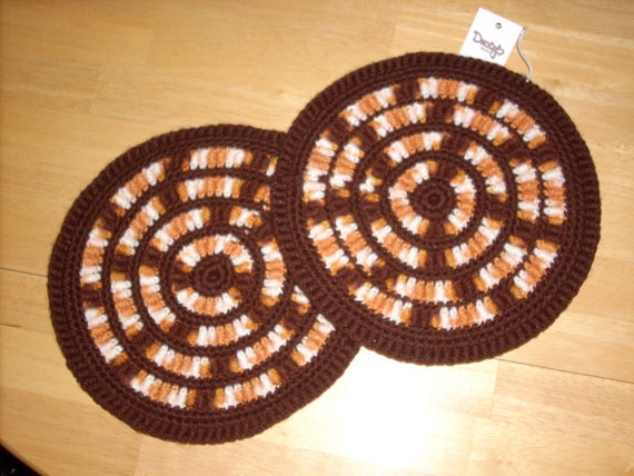 Stained Glass Hot Pads - brown, gold, cream