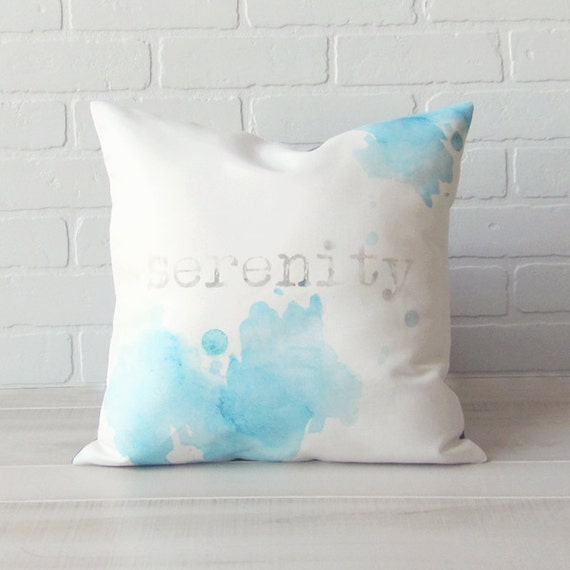 "Decorative Pillow Cover 16x16 - Vintage Typewriter font ""Serenity"" - Calming Blue Paint"