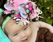 Over the Top Mint and Pink Disco Dots Boutique Hair Bow with Pink Ostrich Puff and Mint Green Headband