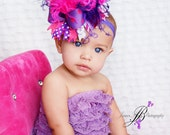 Over the Top Hot Pink and Purple Boutique Hair Bow with Double Ostrich Puff Center on Matching Headband