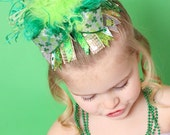 Over the Top St Patricks Day... Sparkly Green Shamrock... Boutique Hair Bow with Double Ostrich Puff Center