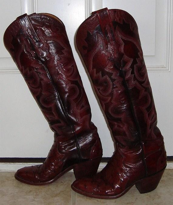 Perfect Women39s Sz 85 Men39s Sz 7 Ostrich Cowboy Boots With Fancy Top