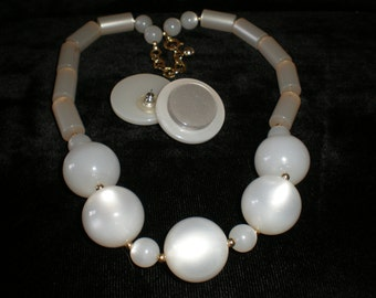 Moonglow Lucite Necklace &  earring set.