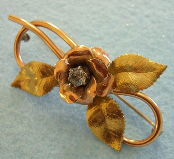 Vintage KREMENTZ Pin / Rose Gold Filled  / Signed Diana / 1950s Bridge Jewelry