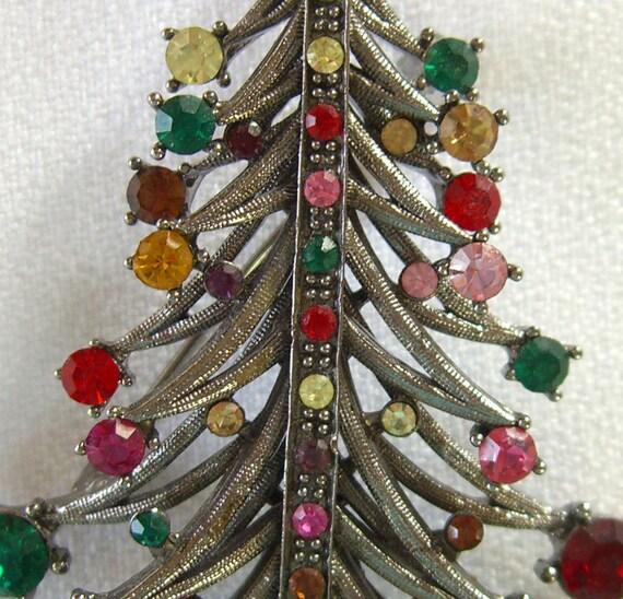 Hollycraft Style Brooch Pendant Colorful Rhinestone Christmas Tree 1980s Vintage Jewelry