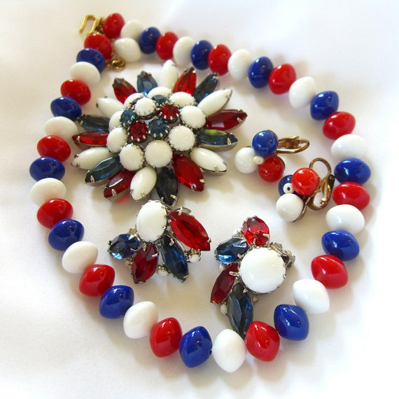 Vintage Patriotic Jewelry / Trifari Necklace Earrings Set / Unsigned Red White and Blue Rhinestone Brooch Earrings 1960s