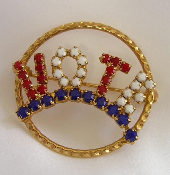vintage vote brooch patriotic jewelry pin white blue