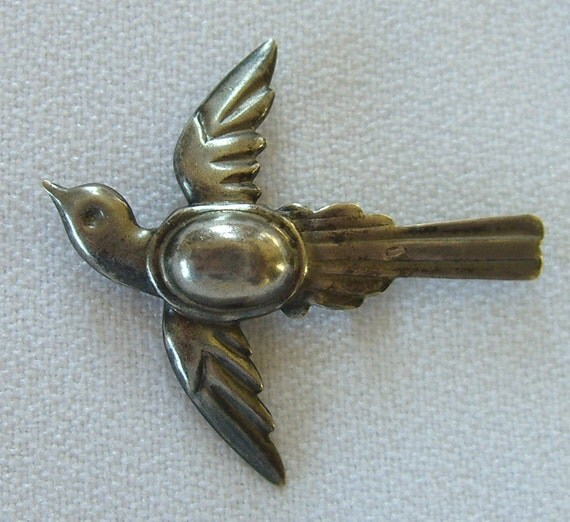 Antique Sterling Brooch Swallow 1940s Pin