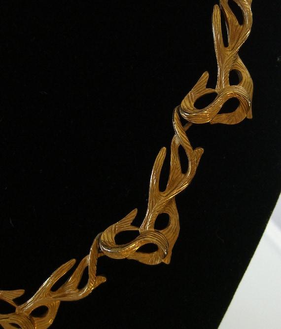Art Nouveau Style Gilt Necklace 1960s Jewelry Choker Designer Signed D'Arlan