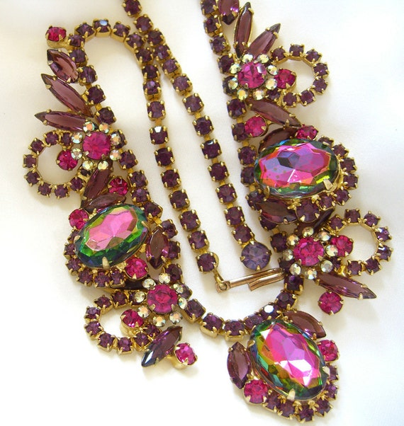 Juliana Watermelon Heliotrope Necklace Delizza and Elster  - Rare and Hard to Find Book Piece Vintage 1960s D & E Jewelry