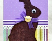 Chocolate Bunny Handmade Greeting Card