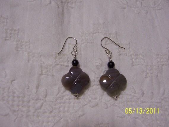 Botswana Agate and Pearl dangle earrings. sterling silver.