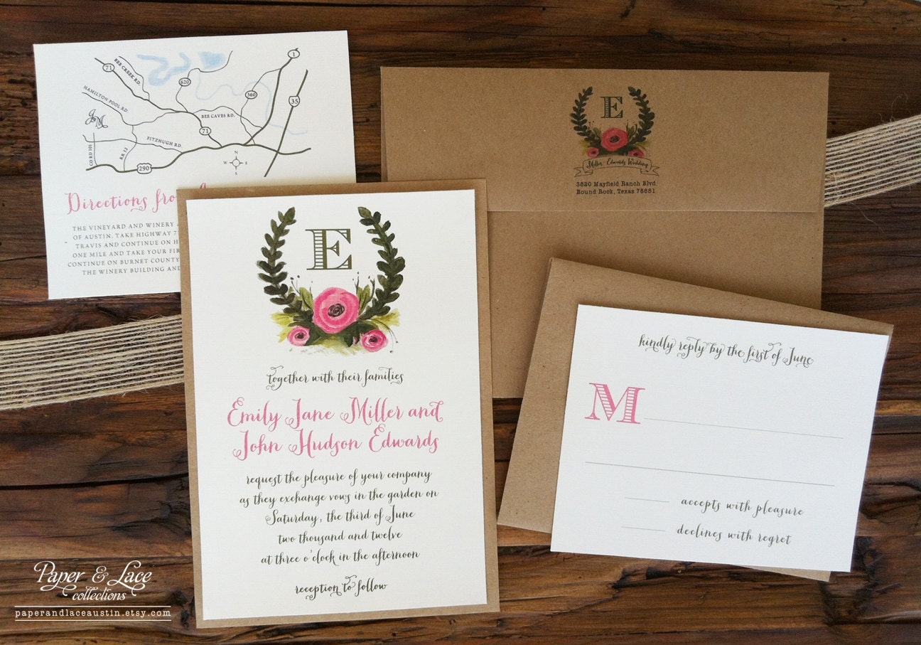 Rustic Illustrated Wedding Invitation Set