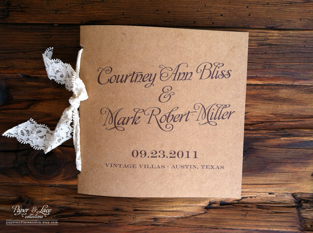 rustic wedding programs kraft and lace sample. Black Bedroom Furniture Sets. Home Design Ideas