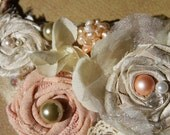 Reserved for Deb Peach and cream pearl  bib necklace