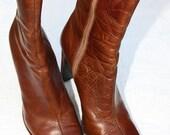Cognac Brown Vintage Leather Boots Size 8 1/2