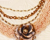 Soft Pink Pearl & Antique Gold Shabby Chic Rose Necklace