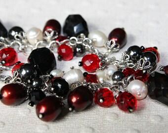 Gemstone cream burgandy black  red and freshwater pearl  cha cha bracelet