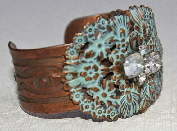 Vintage Aqua, Copper & Rhinestone Reclaimed Cuff Bracelet