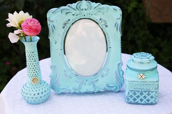 Reserved for Elaina Shabby Chic Vintage Sky Blue Hand Painted Distressed Glass Frame