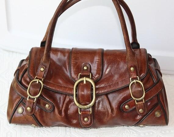 Caramel Brown Genuine Leather Satchel Bag
