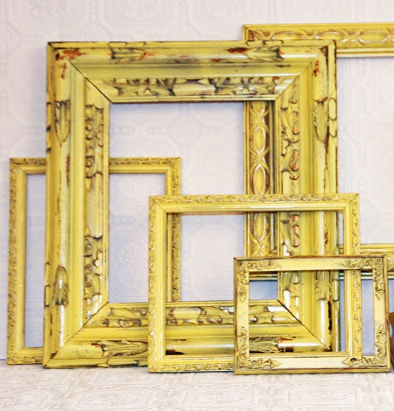Made To Order Shabby Chic VintageYellow Hand Painted Distressed Frame Set