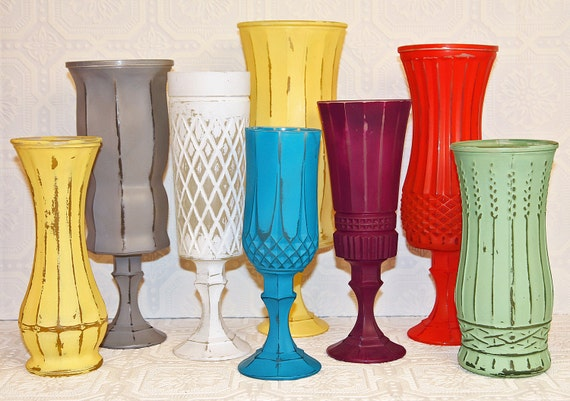 Set Of Shabby Chic Vintage Hand Painted Pedestal Vases