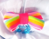 xX Gummi Rainbow Xx tiny bright rainbow boutique style bow on turquoise adjustable band girly ring
