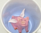 Flying Pig Surprise Mug, Peek-A-Boo Cup, Child's Special Cup, Handmade Flying Pig Coffee Mug (Made to Order)