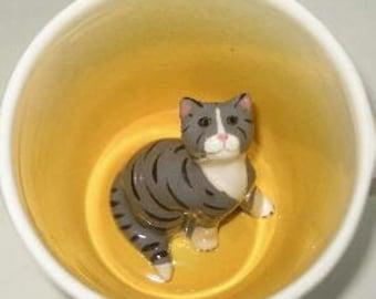 Grey Tabby Cat Surprise Mug (Made to order)
