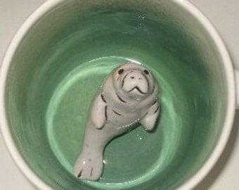 Manatee Surprise Mug, Animal Mug, Hidden Animal Surprise Mug, Manatee Coffee Mug, (Made to Order)