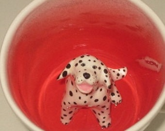 Dalmatian Coffee Mug, Animal Surprise Cup (Made to Order)