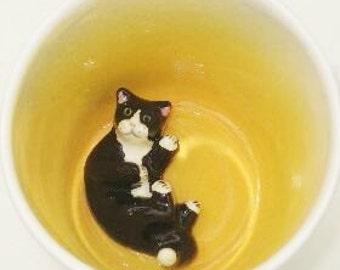 Black Lying Cat Surprise Mug (Made to Order)