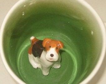 Fox Terrier Surprise Mug, paw printed (In stock)