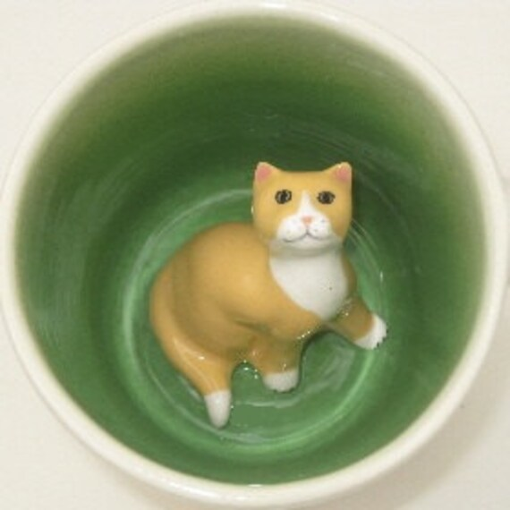Cute Cat Coffee Mug, Animal Surprise Cup, Yellow Cat Lover Gift (Made to Order)