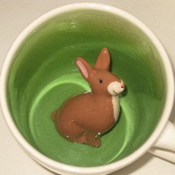Brown Rabbit Surprise Mug (Made to Order)