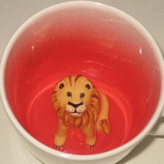 Lion Coffee Mug, Hidden African Animal Surprise Mug (Made to Order)