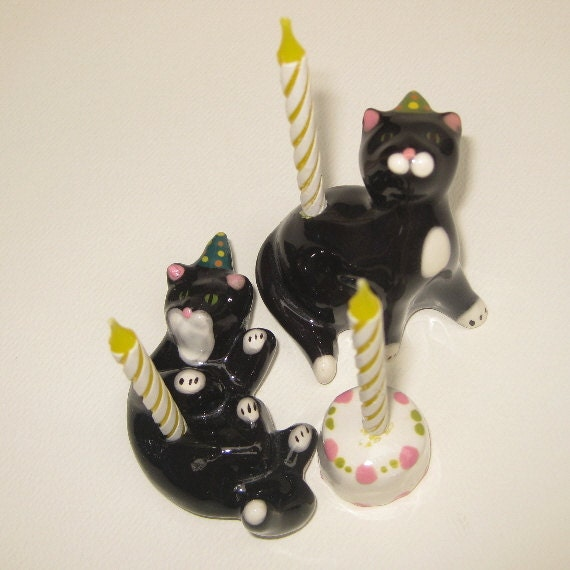 Reserved for Becky; Grey  Kittens Birthday Candle Holders